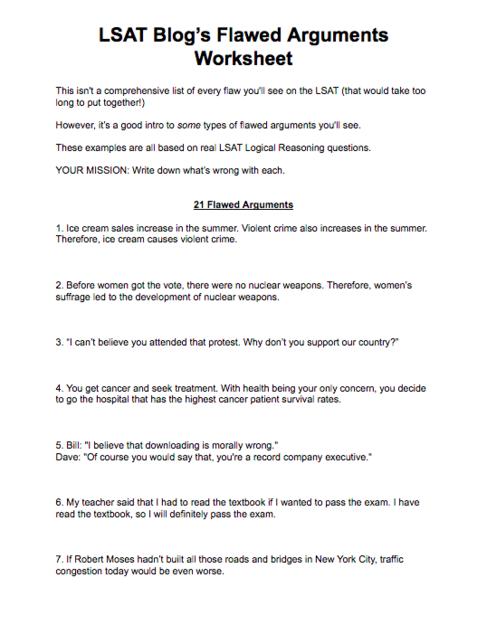 LSAT Blog's Flawed Arguments Worksheet