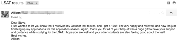 Email from my LSAT student, Allison